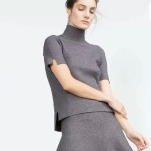 Zara Co-Ord Gray Short Sleeve Mock Neck Sweater